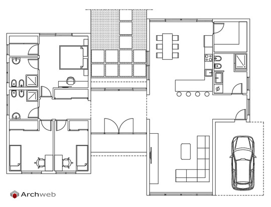 Schemi planimetrici per una villa for Progetto zona giorno