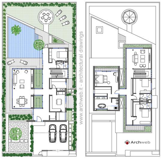 Villa unifamiliare dwg for Piani di lusso a casa singola storia