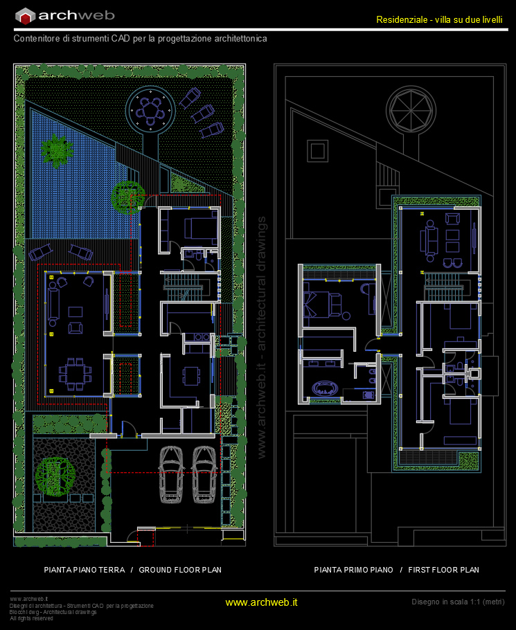 Autocad dwg villa joy studio design gallery best design for Progetto casa autocad