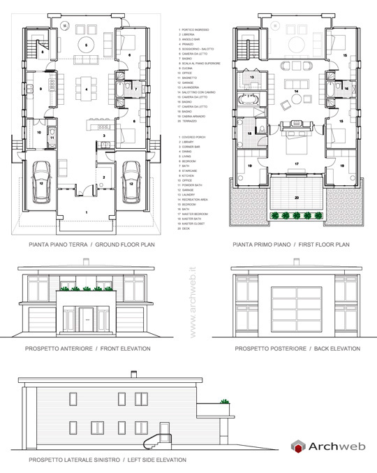 Schema progetto villa su 2 livelli for Piano aperto su due livelli
