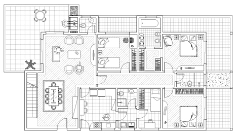 Ville residenziali dwg progetti ville houses dwg for Piano terra con 3 camere da letto con dimensioni pdf