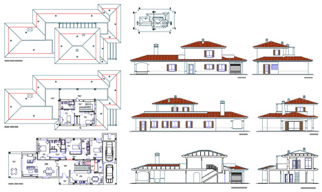 Ville residenziali dwg progetti ville houses dwg for Prospetti di villette