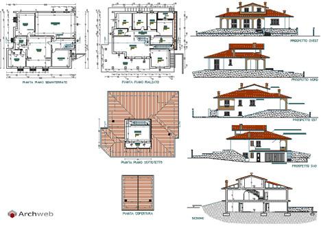 Ville residenziali dwg progetti ville houses dwg for Planimetrie seminterrato