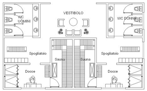 Sauna e bagno turco sauna dwg for Arredi spogliatoi dwg