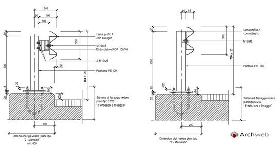 Strade barriere di sicurezza for Strutture metalliche dwg