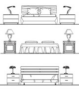 Letto singolo 2d bed drawings bunk dwg for Camerette dwg